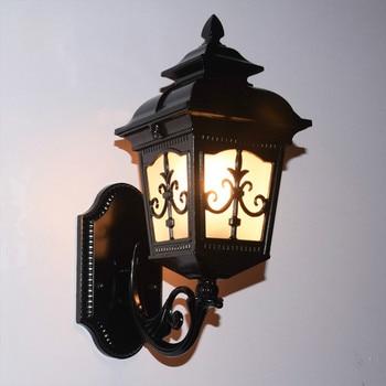 European vintage bronze aluminum villa waterproof outdoor wall sconce lamp European garden retro glass E27 LED bulb wall light