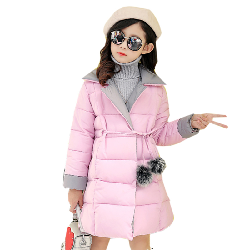 2017 New Design Winter Jackets Girls Warm Coat Kids Cotton Padded Down Jacket Girls Casual Solid Color Long Winter Clothes 2017 new fashion girls winter warm coat kids jacket hooded snow wear cotton down outerwear girl solid color winter clothes