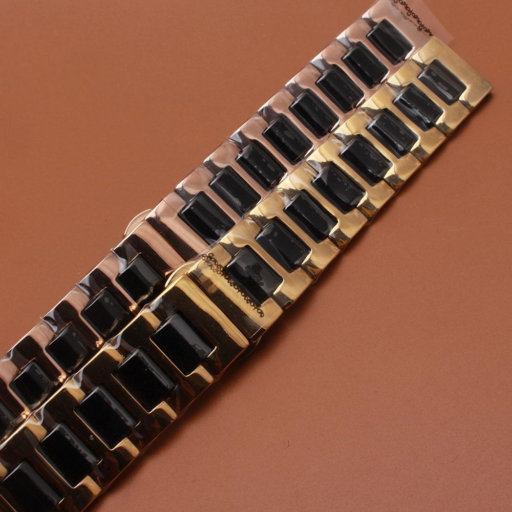 Saat kayışı Gül altın Paslanmaz Çelik Wrap Siyah Seramik - Saat Aksesuarları - Fotoğraf 6