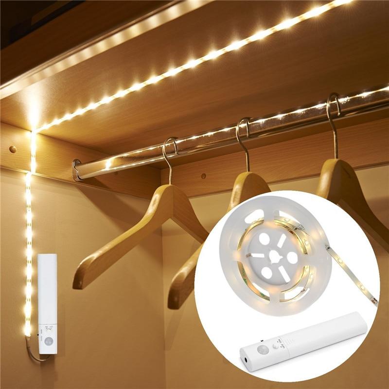 BOLEDENGYE LED Dual Mode Motion Night Light, Flexible LED Strip With Motion Sensor Closet Light For Bedroom Cabinet Warn White