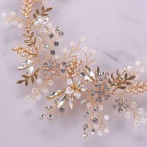 Image 4 - Модные повязки для волос Стразы с кристаллами для невесты повязка на голову с розовыми цветами и листьями Тиара головной убор Свадебные украшения для волос аксессуары SL