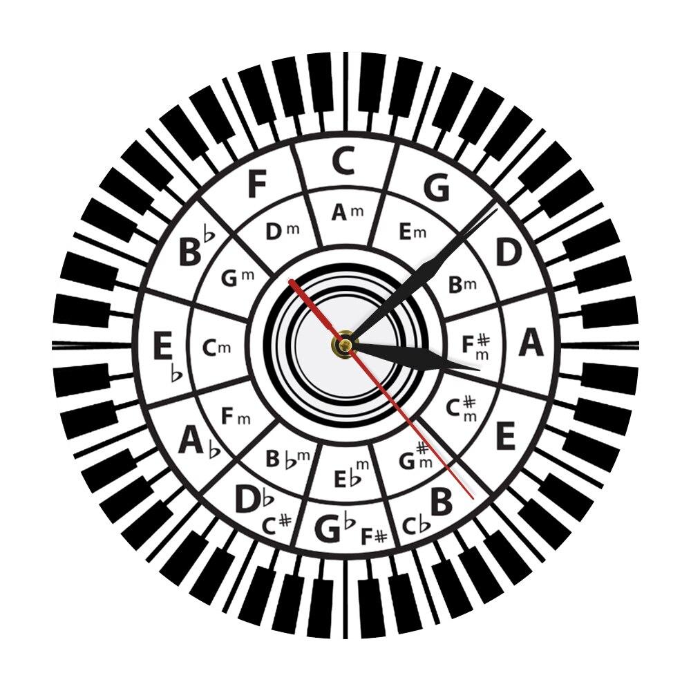 Piano Keys Wall Clock Musician Circle Of Fifths Music Harmony Theory Music Study Composer Classroom Wall Decor Modern Wall Watch