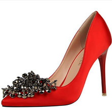 Fashion Sexy Glitter Evening Party Pumps Pointed Toe Rhinestones Satin Stiletto Wedding Shoes Prom Heels Flower
