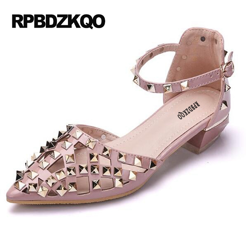Size 4 34 Pumps Rivet Pointed Toe Pink Ankle Strap Shoes Low Heels Fashion Discount Chunky Stud Sandals High Ladies Patent цена