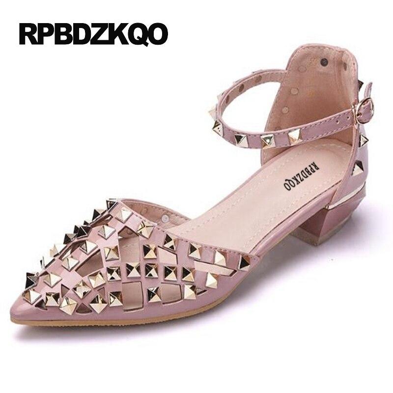 6a80c8e67 Tamanho 4 34 Bombas Rebite Apontado Para Cima Rosa Cintura De Tornozelo  Sapatos Salto Baixo Moda Desconto Grosso Viga Sandálias em Sapatos  femininos de ...