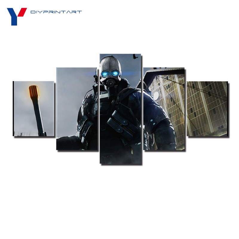 Half Life 2 Prison Guard 5 Panel Art Print Combine Soldier Game Paintings for Living Room A0962