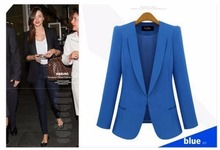 Starlist  2017 woman office work black blazer OL lady blue long sleeve Notched collar outwear female coats plus size S-4XL
