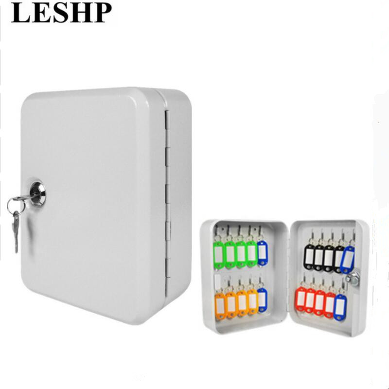 LESHP Key Cabinet Box 20 Tags Fobs wall Mounted Lockable Security Metal cupboard Safe for Home Property Management Company giantree portable money box 6 compartments coin steel petty cash security locking safe box password strong metal for home school