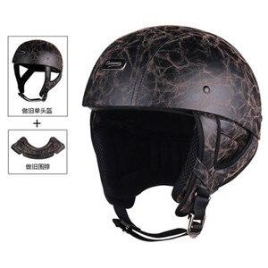 Image 4 - 1 adet 57 62cm ABS plastik motosiklet Helm motokros Capacete yarım kask Retro mat parlak siyah