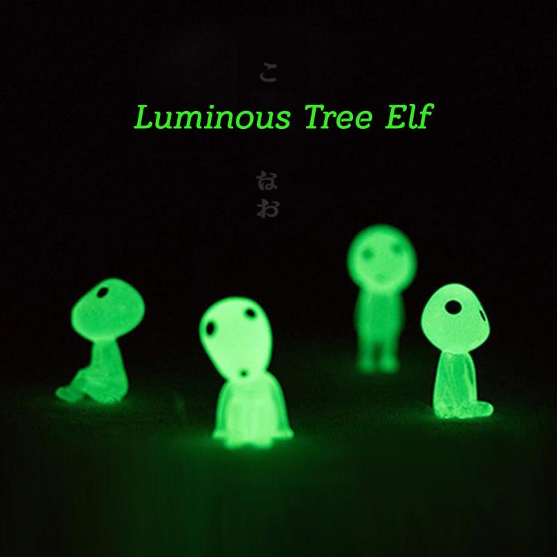 5pcs Princess Mononoke Mini Luminous Tree Elves Hayao Miyazaki Micro Landscape Cute Resin Decoration Cartoon Toy Birthday Gifts(China)