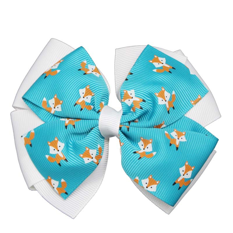 цена на 1PCS Printing Foxes Hairpin Bow Solid Grosgrain Ribbon Girl Large Bow Hair Tie Clip Hair Band Bow Hair Accessories Best DIY Gift