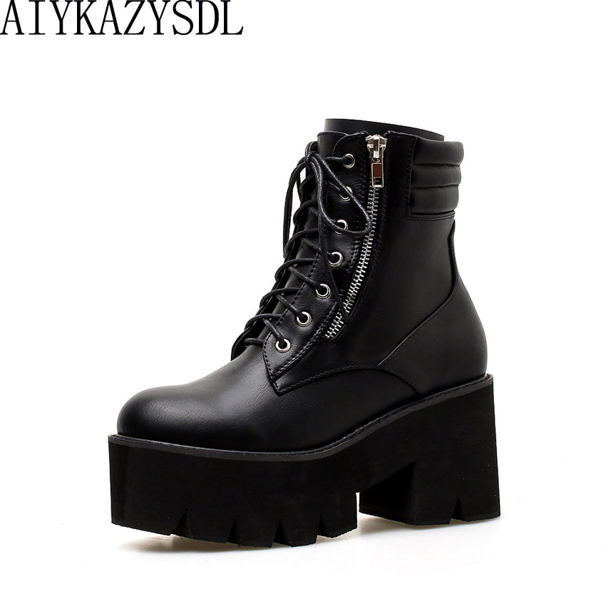 AIYKAZYSDL Autumn Women Biker Boots Motorcycle Ankle Boots Zip Platform Thick Heels Wedge Shoes Chunky Block High Heel Booties womens punk ankle boots chunky heels platform side zip leather moto shoes woman high heel thick heel platform motrocycle boot