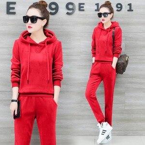 Женский Бархатный спортивный костюм YICIYA, красный комплект из 2 предметов, теплая спортивная одежда большого размера плюс, кофта с капюшоном ...