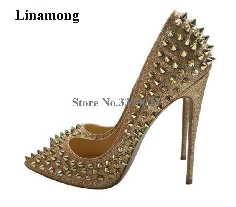 New Fashion Women Pointed Toe Gold Rivet Stiletto Heel Pumps Classical Style Spike 12cm High Heels Formal Dress Shoes women classical design silver pointed toe transparent pumps ankle buckle design 12cm high heels formal dress shoes
