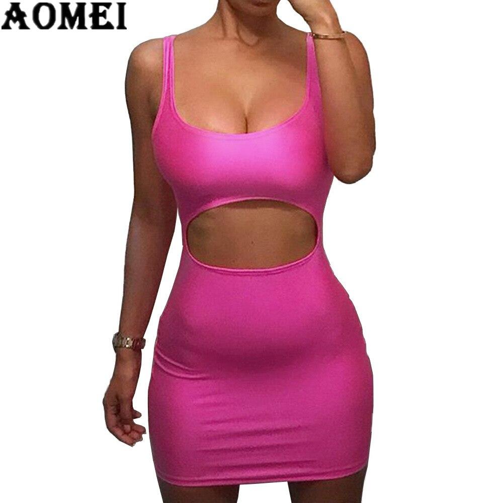 Женское платье сексуальное спереди выдалбливают Вечернее Клубное платье без рукавов дамы пакет бедра обтягивающие Халаты Розовый Красный ...