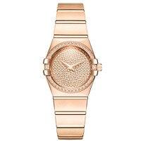 Новый розовое золото часы девушку Кварцевые часы женская одежда часы Сталь браслет Водонепроницаемый столешницы бренд класса люкс Relogio
