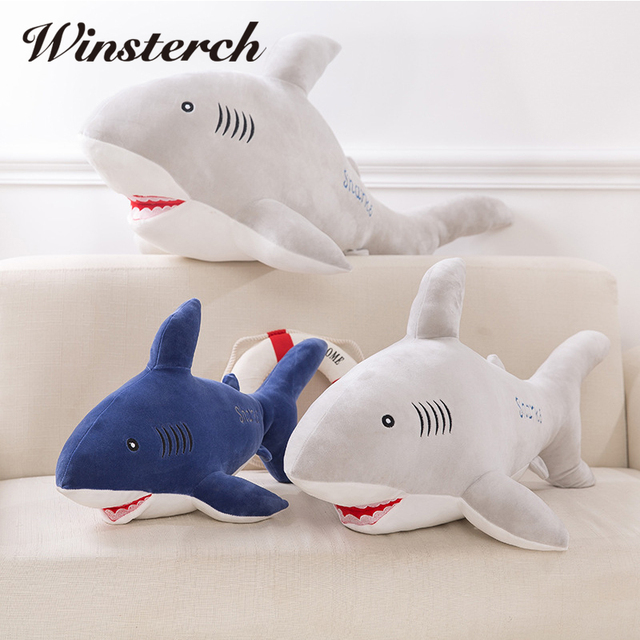 Plush Big Shark Doll Pillow Lifelike Sharks Plush Toys Stuffed Dolls Kids  Toys Lovely Girlfriend Best
