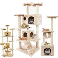 Cat Luxury Furniture 36 80 Inches Pet Cat Tree Tower Climbing Shelf Cat Apartment Game Habitat Cat Tower Condo Toy