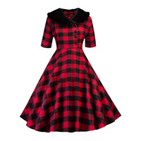 Sisjuly 1950s Women Vintage Dresses Fall Red Green Luxury Plaid Sleeveless Patchwork Retro Female Party Dresses