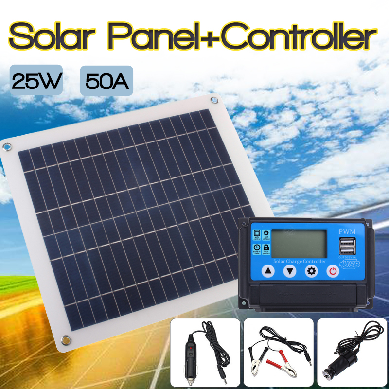 50A Solar Charge Controller Regulator + 25W Solar Panel 12/24V Portable Power Bank Board Automatic Identification PWN Battery 30a solar charge controller regulator 15w solar panel 12 24v portable power bank board automatic identification pwn battery