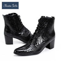 Christia Bella New Fashion Snake Pattern Genuine Leather Men Boots Winter High Heels Men Oxford Ankle Boots Lace Up Party Boots