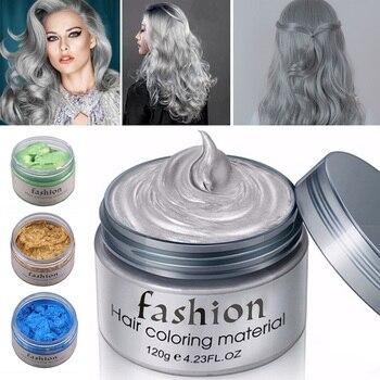 Babcia szary do włosów wosk kolorowy błoto 7 kolor Unisex DIY farbowanie włosów wosk Mud Dye Cream tymczasowe modelowanie do farbowania włosów stylizacji kolor błoto