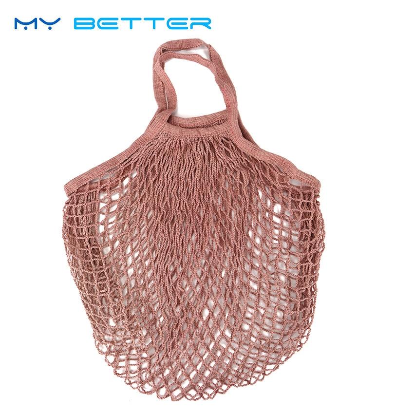1 StÜck Wiederverwendbare String Obst Einkaufstasche Supermarkt Einkaufstüte Shopper Mesh Net Gesponnenes Baumwolle Hand Totes