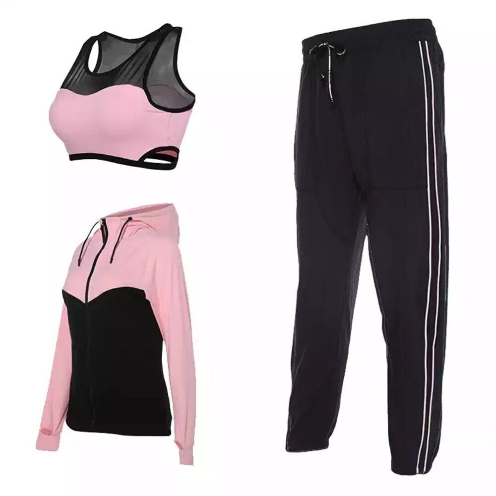 Vansydiacl New Sports Yoga Set Women's Fitness Sports Suits Training Running Sportswear Gym Clothes Jacket Bra Pant Set 3pcs new winter yoga suit five piece female ms breathable coat of cultivate one s morality pants sports suits running fitness
