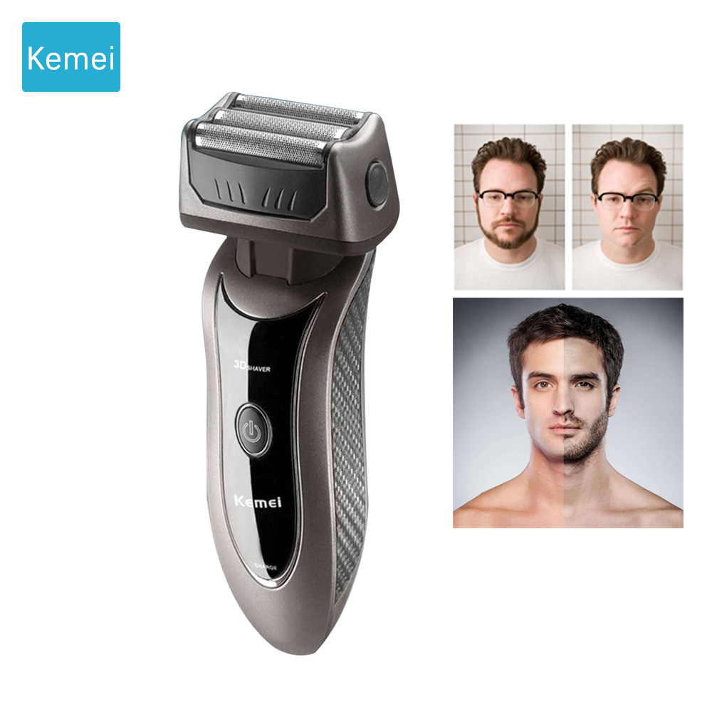Kemei Triple Blade electric shaver for men shaving machine electric razor shaving & hair removal beard trimmer Scheerapparaat 4 povos pw830 men s electric shaver triple blade