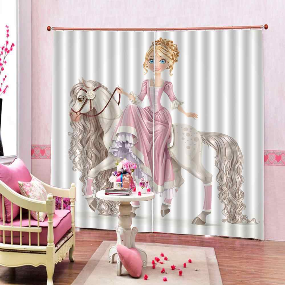 hourse curtasins girls curtain Luxury Blackout 3D Window Curtain For Living Room Bedroom Drapes Cortinas
