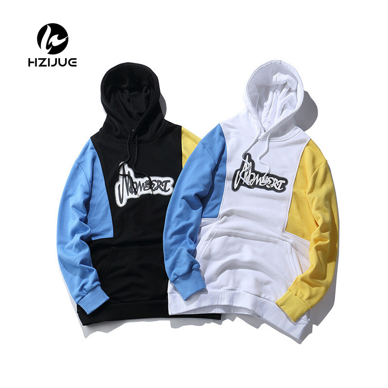 2018 Winter Fashion fleece Street wear Male Embroidery Patch Fleece Hoodies Mens Hip Hop Casual Cotton Pullover Sweatshirts New