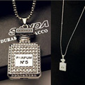 New design Retro bling Rhinestone Perfume Bottle Pendant Sweater Necklace long for women Fashion Jewelry accessories statement
