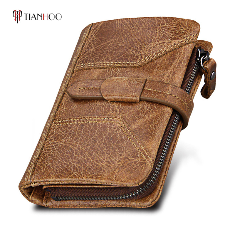 TIANHOO Multifunction Card Holder Clutch Wallets Male Removable Coin Purse Genuine Leather Wallet Men Purse Short Money Bag men wallets famous brand luxury genuine leather short bifold wallet mens clutch card holder male purse money bag coin pouch