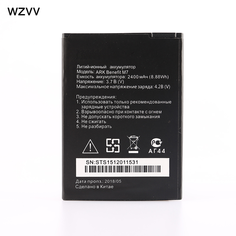 wzvv 2018 New 2400mAh High quality battery for ARK Benefit M7 phone battery + Track Code