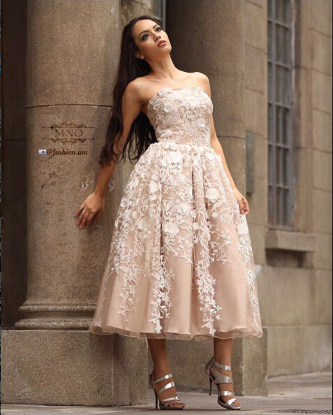 elie saab Vestido 2017 Strapless lace evening Dresses Tea Length Evening Gowns-in Evening Dresses from Weddings & Events on Aliexpress.com | Alibaba Group