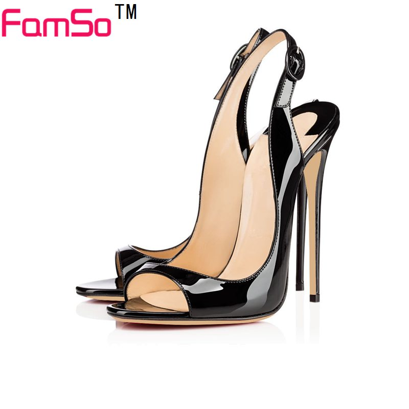 ФОТО Big Size34-43 2017 New Sexy Black Leather Pumps Designer Peep toe Party Sandals Summer Women's Office Sandals Shoes    PS3099