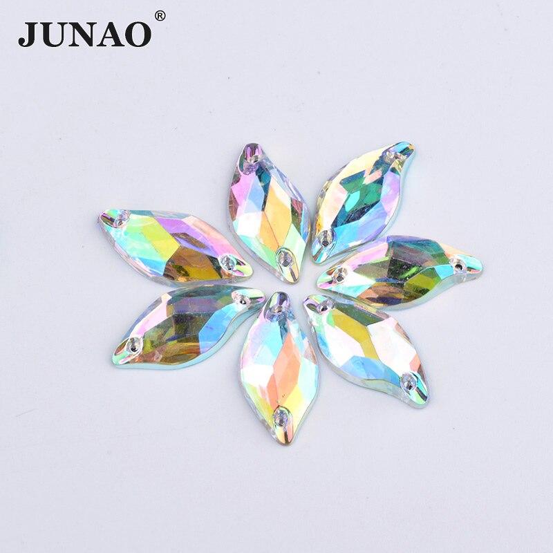 JUNAO 9*20 мм Швейные Crystal AB Стразы «лошадиный глаз» аппликация Flatback Акриловые стразы кристаллы камни пришить бисер для одежды