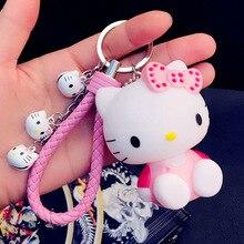 d6e1e514bb2 Leuke Roze Kat Hello Kitty Pop Sleutelhanger Lederen Touw Sleutelhanger  Houder Metalen Bel Sleutelhanger Sleutelhanger Charm