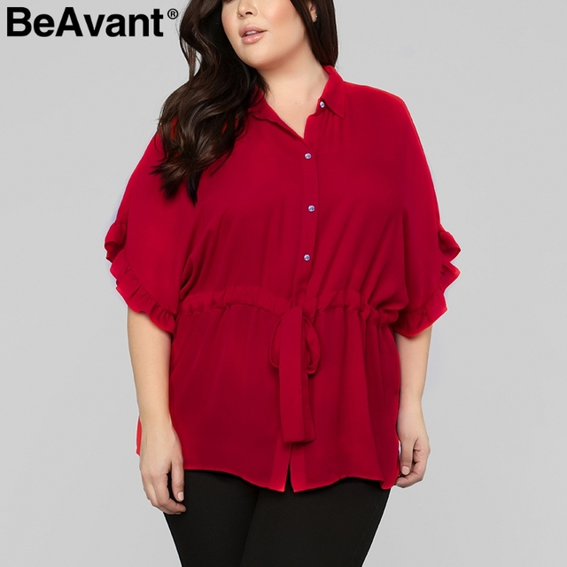 BeAvant Elegant ruffle woman blouse plus size Batwing sleeve chiffon blouse shirt top female Loose tie up button summer tops