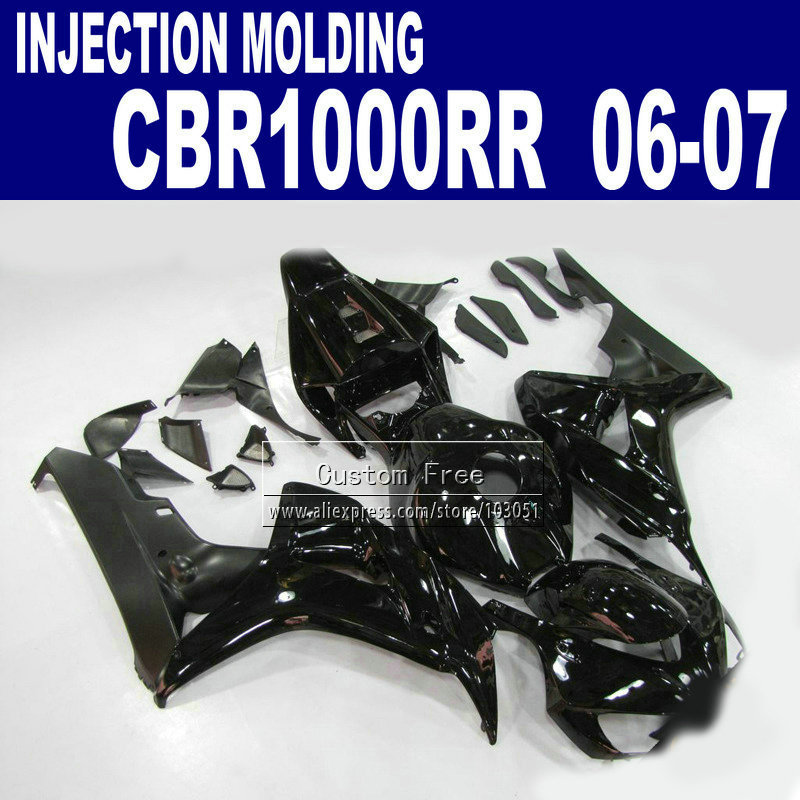 Injection molding motorcycle road fairings parts for 2006 2007 CBR1000RR CBR 1000 RR 06 07 CBR 1000RR full black fairing kits