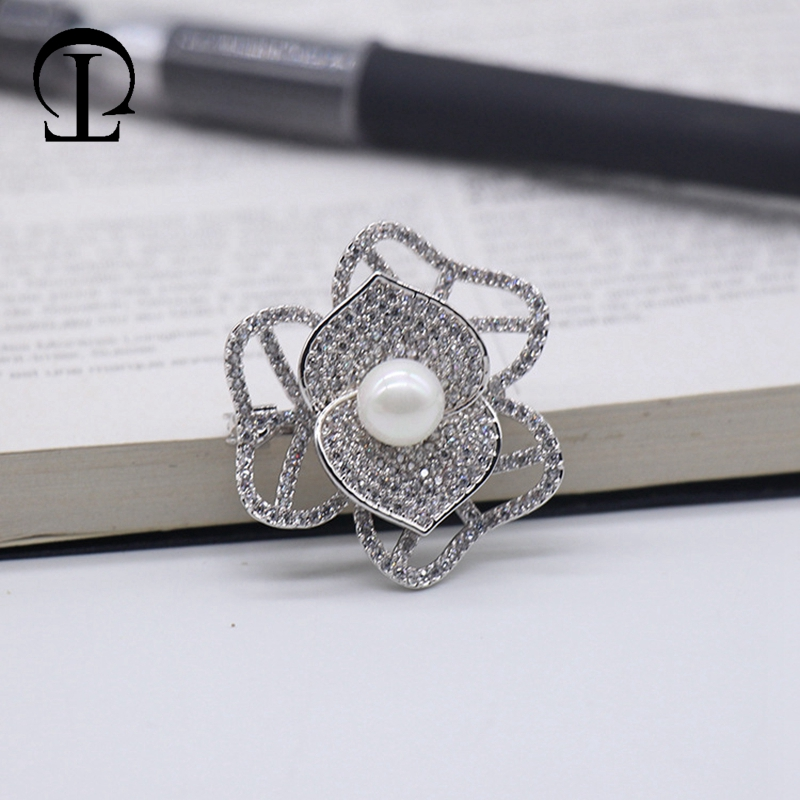 3pcs/lot flower bodice pin Rhodium diamond insert safety pins for craft brooches DIY wedding garment bags clothing decoration