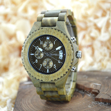 BEWELL Full Wood Watch Multifunction Watch Men Auto Date sports  Watches Men's Clock Relogio Masculino with Paper Box 115A