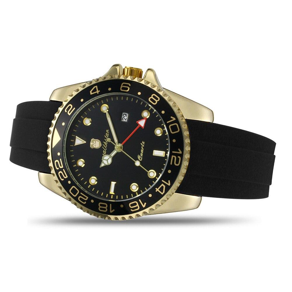 Wealthstar Brand Men Watches 44mm Case Auto Date Quartz Watches Silicone Strap  Classic  Watch GMT Men Luxury Quartz Watches