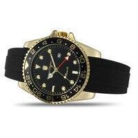 Wealthstar markowe zegarki męskie 44mm case Auto data zegarki kwarcowe pasek silikonowy klasyczny zegarek GMT mężczyźni luksusowe zegarki kwarcowe w Zegarki kwarcowe od Zegarki na