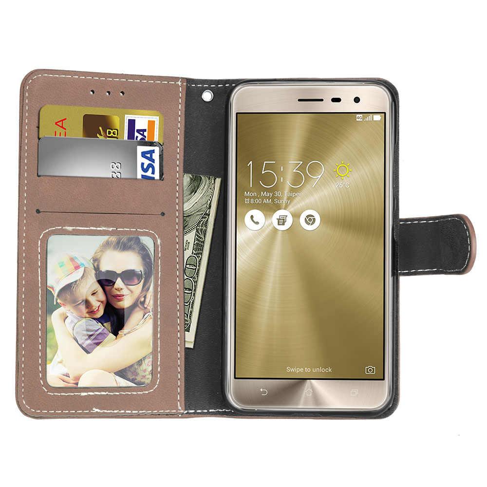 Asus Zenfone 5 3 ZE520KL ケース財布 PU レザーマット電話ケース Asus の Zenfone 5 3 ZE520KL ZE520 520 520KL フリップカバーカード