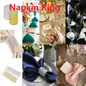 Tableware Gold Silver Napkin Ring Chairs Buckles Wedding Event Decoration Crafts Rhinestone Bows Holder Handmade Party Supplies image