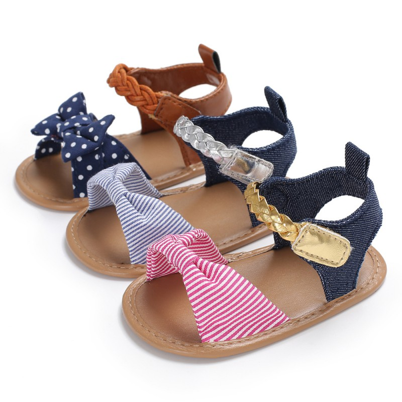 Sandals for Girls 2018 Striped Cotton Baby Shoes Newborn Bow Baby Girl Sandals Fashion Summer Breathable Beach Baby Sandals salmon