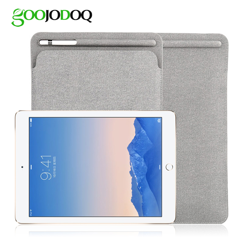 GOOJODOQ 9.7/10.5 Sleeve Case for iPad 2018 Pro 10.5 Case with Apple Pencil Stylus Holder PU Leather Cover Bag for Apple iPad стоимость