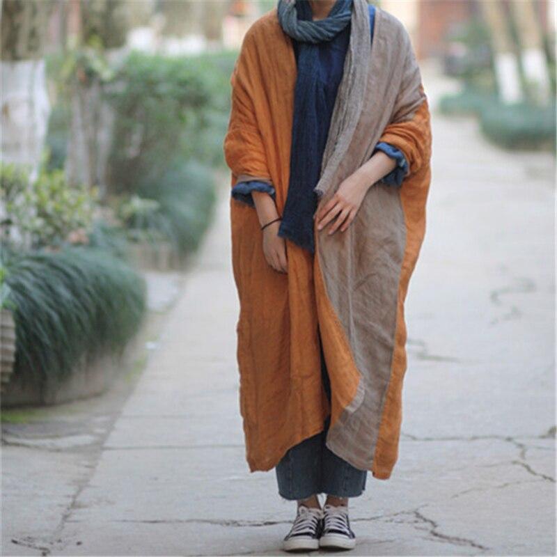 Johnature Frauen Graben Mäntel 2019 Herbst Neue Patchwork Langarm Vintage Casual Robes Doppel Leinen Plus Größe Frauen Mäntel-in Trench aus Damenbekleidung bei  Gruppe 1
