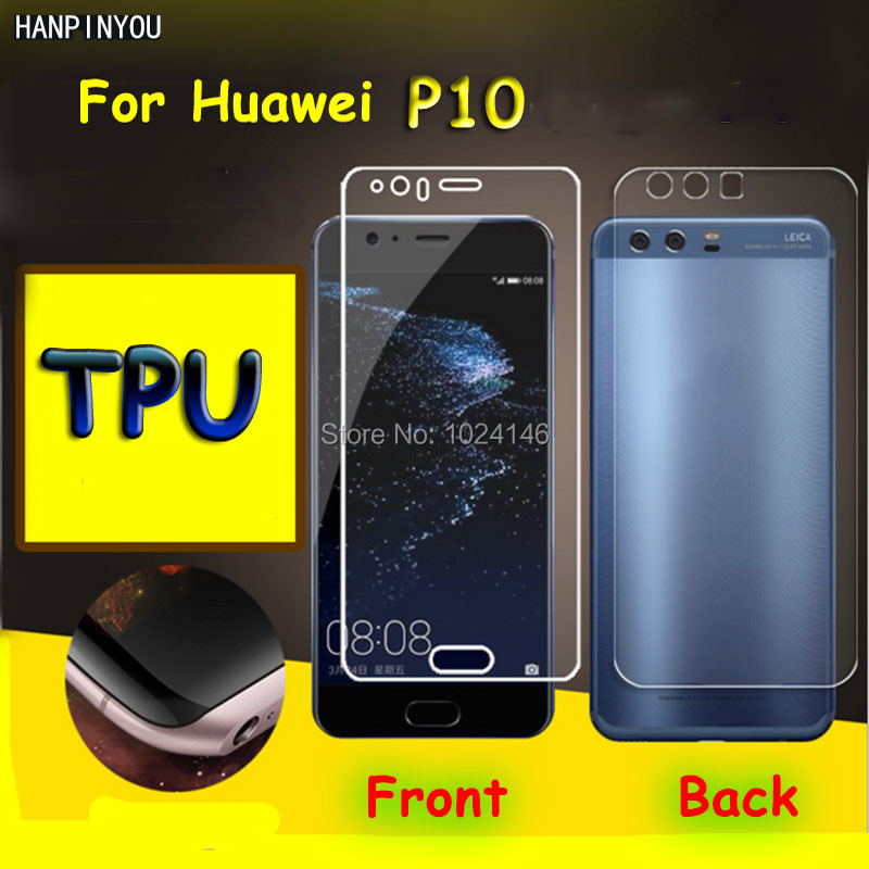 Front /Back Full Coverage Clear Soft TPU Film Screen Protector For Huawei P10 P 10 5.1, Cover Curved Parts (Not Tempered Glass)